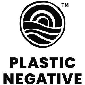A minimal black and white logo of a sun coming up over a horizon. Below the logo are the words: Plastic Negative.