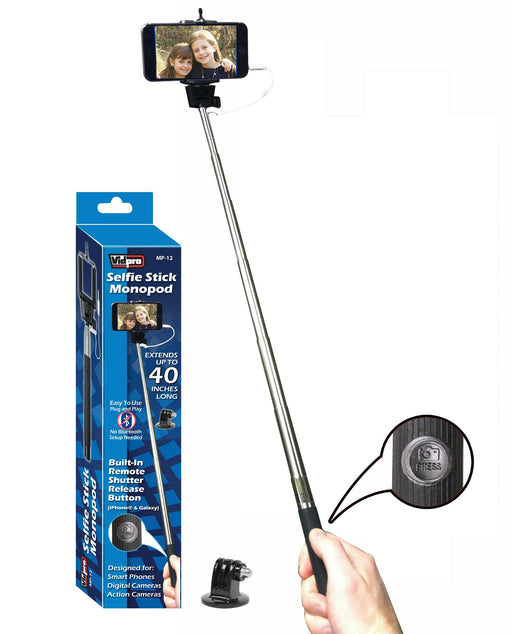 MP-12 Selfie Stick Monopod with Built-in Wired Shutter Release for Smartphones, Digital Cameras & Action Cameras