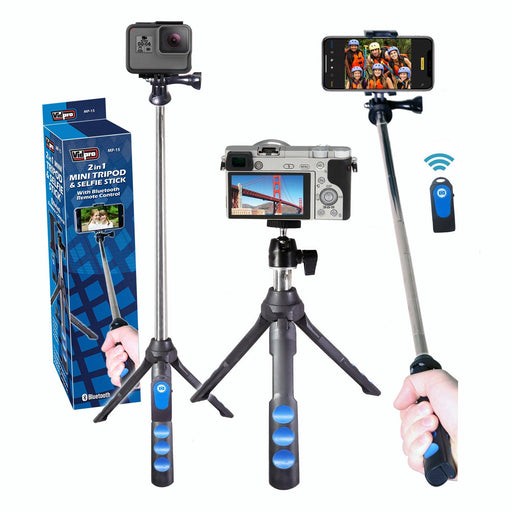 MP-15 2-in-1 Mini Tripod and Selfie Stick with Bluetooth remote control