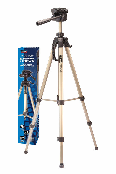 TT Series Heavy-Duty Aluminum Tripods with 3-Way Pan & Tilt Head TT-66