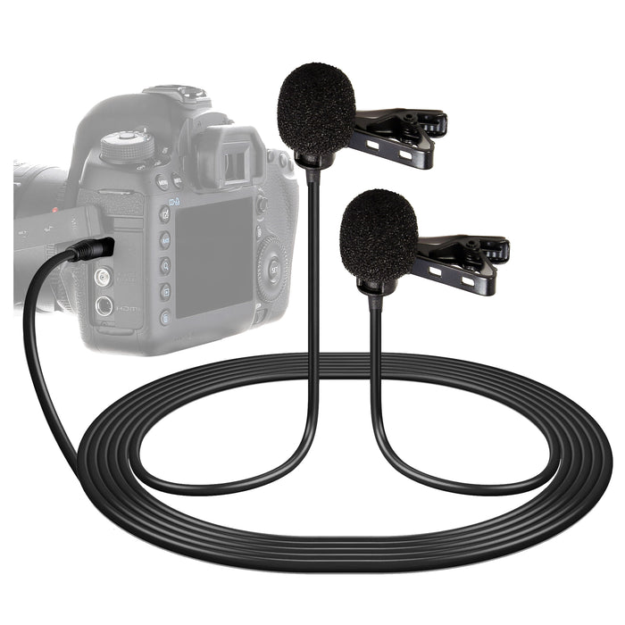 XM-DLC Dual-Head Lavalier Microphone for Cameras and Camcorders