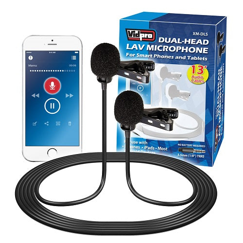 XM-DLS Dual-Head Lavalier Microphone for Smartphones and Tablets