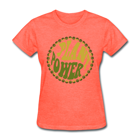 Women's Vegan Plant Power T-Shirt - heather coral