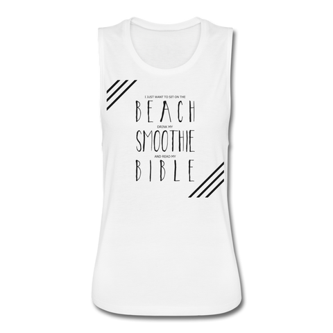 Women Beach N Bible Tank - white