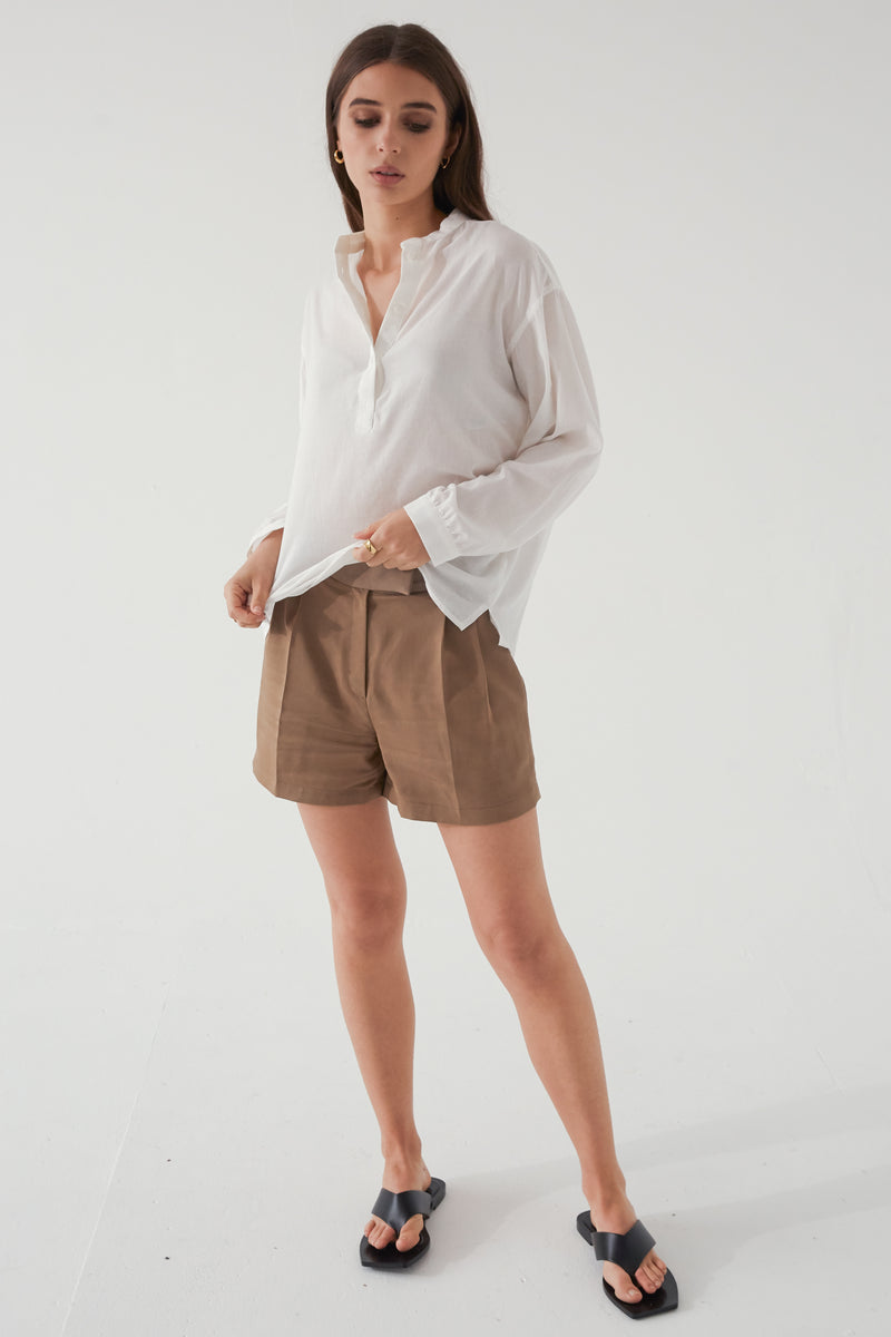 Band Collar Button Up Shirt - Almina Concept