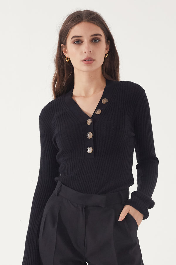 V Neck Button Up Knit - Almina Concept