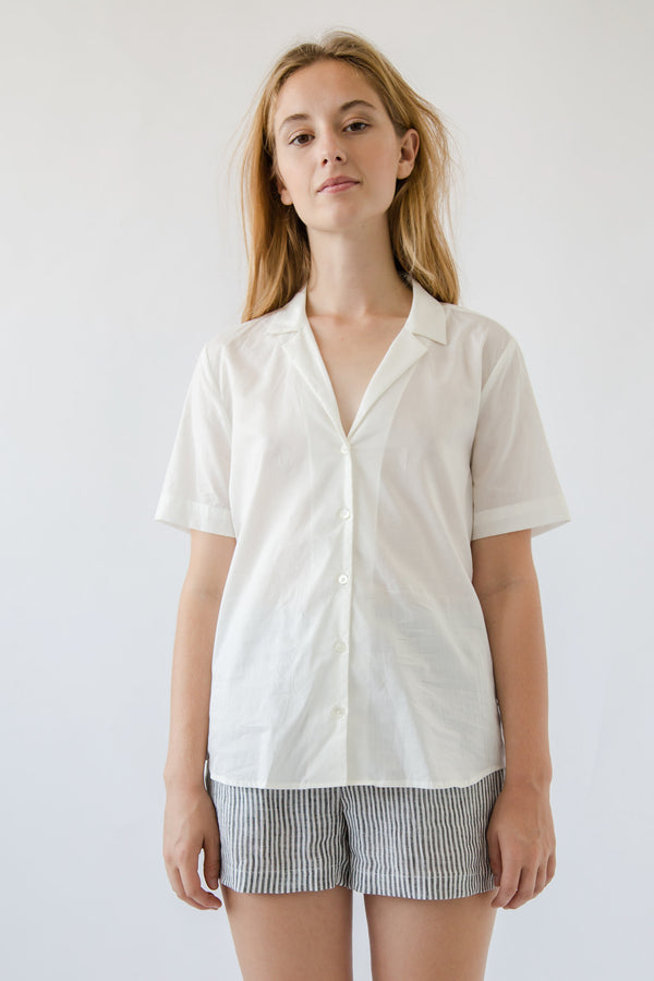 Short Sleeve, V Neck Button Up