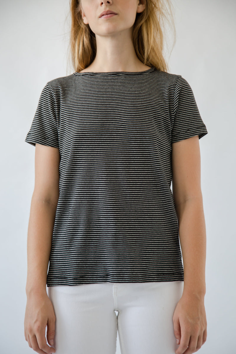 Cotton Crew Striped Tee - Almina Concept