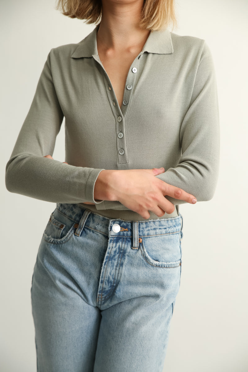 Button Up Polo Knit Top - Almina Concept