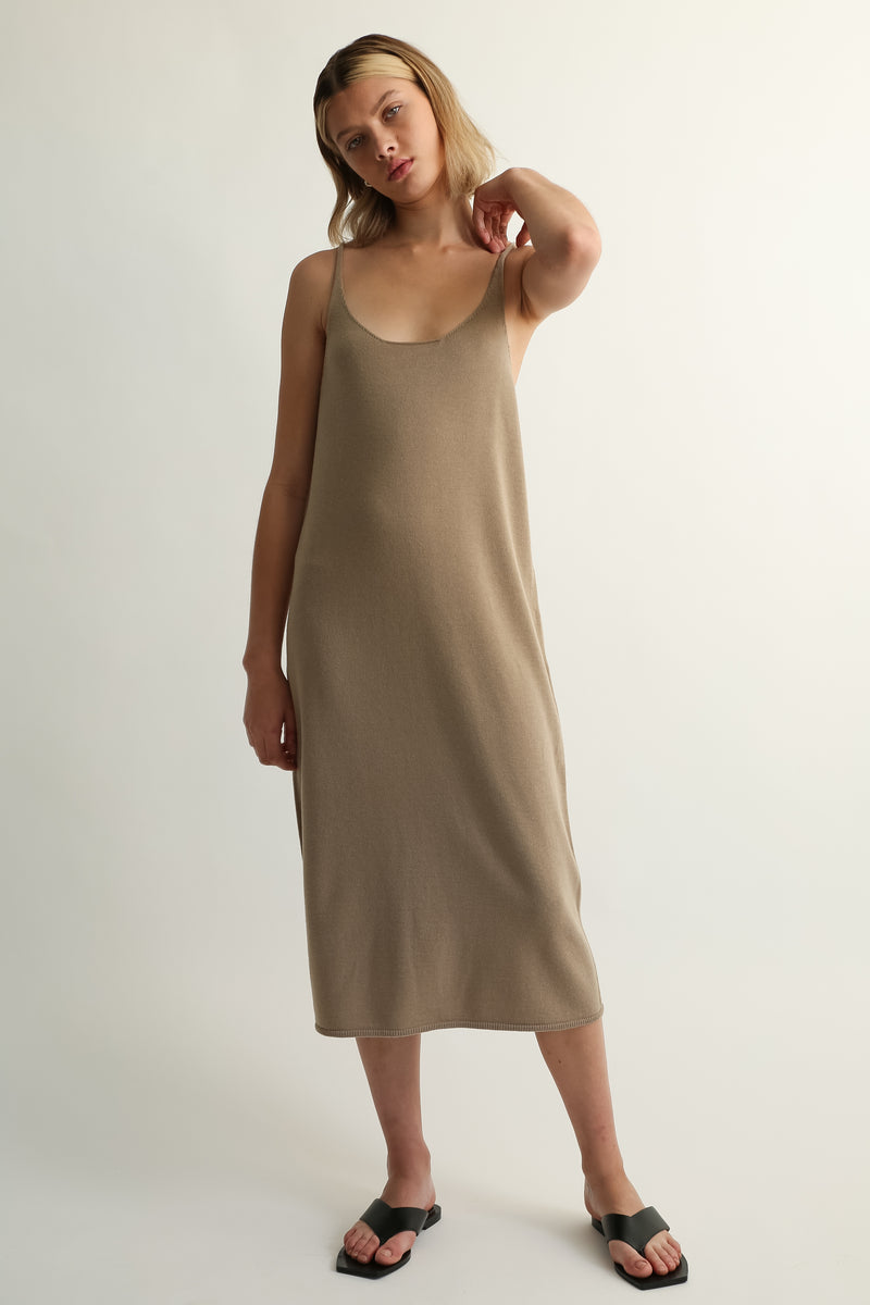U Neck Knit Dress - Almina Concept