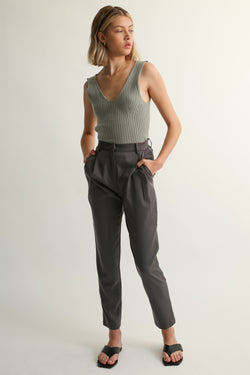 High Waisted Tencel Trousers - Almina Concept