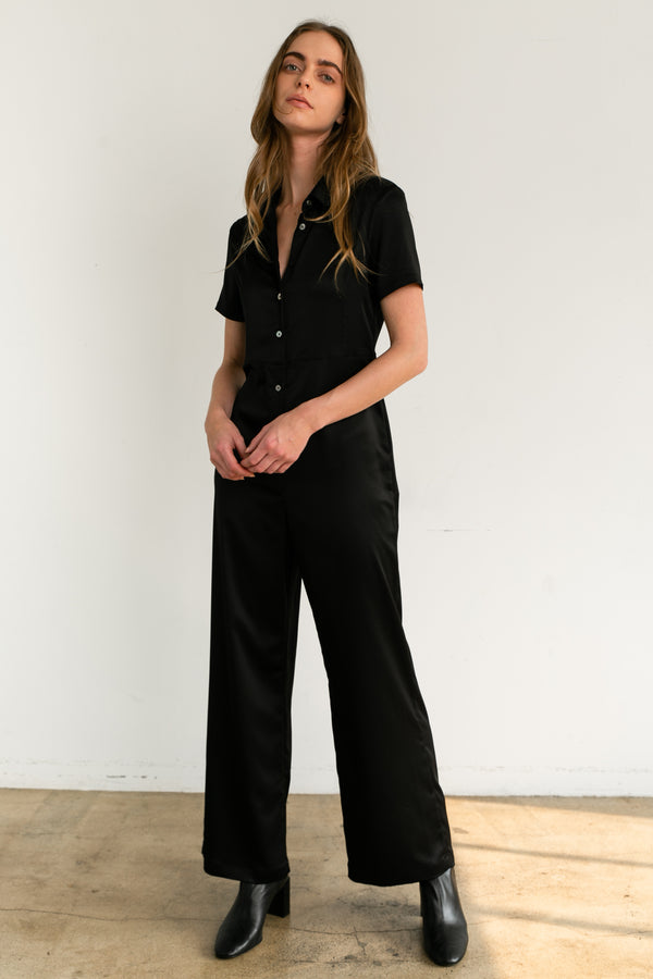 Short Sleeve Wide Leg Jumpsuit - Almina Concept