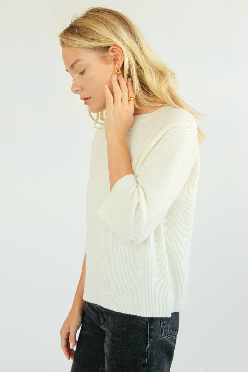Cashmere Blend Ribbed Knitwear - Almina Concept