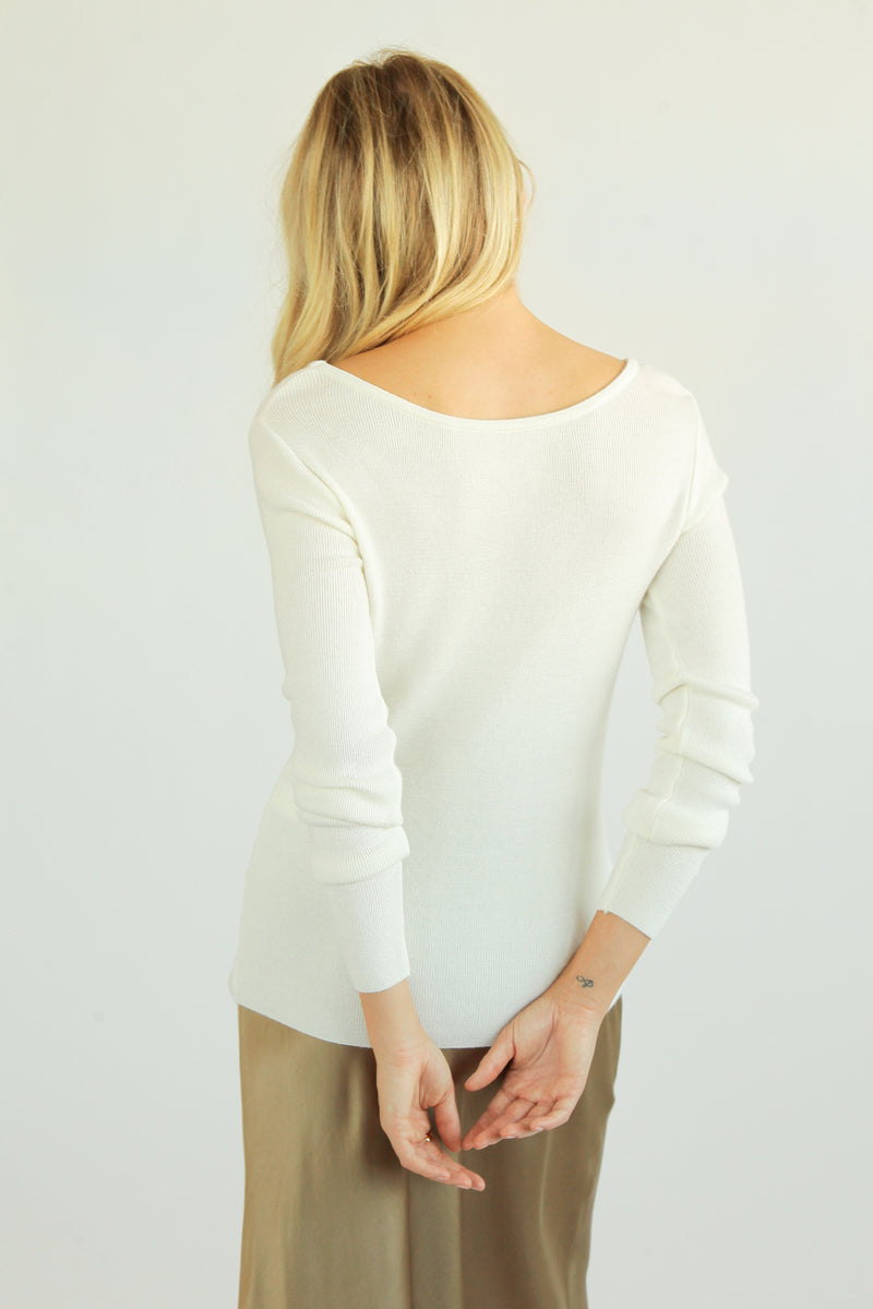 Scoop Neck Ribbed Knit - Almina Concept