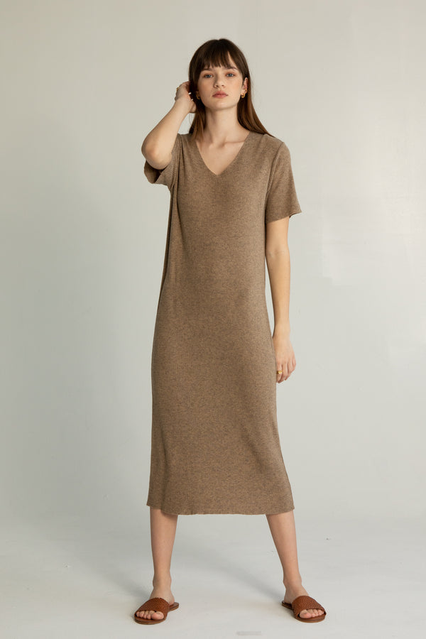 Short Sleeve Knit Dress - Almina Concept