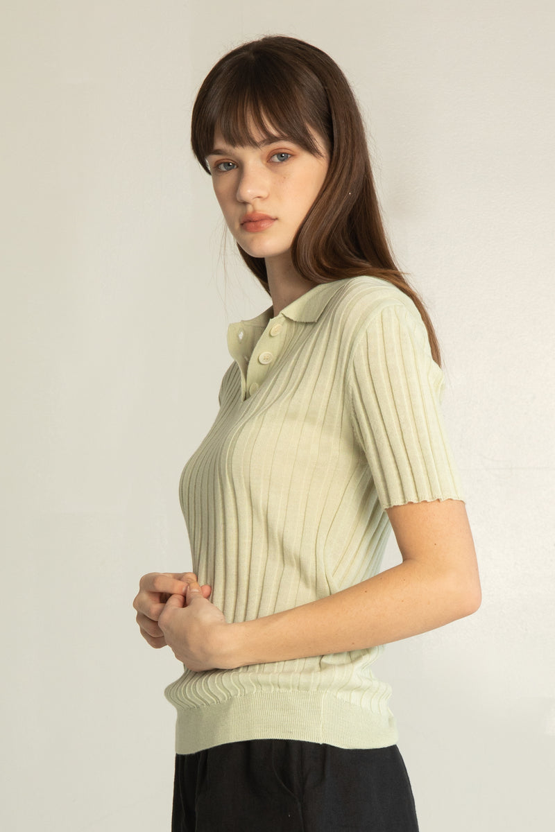Ribbed Knit Polo - Almina Concept