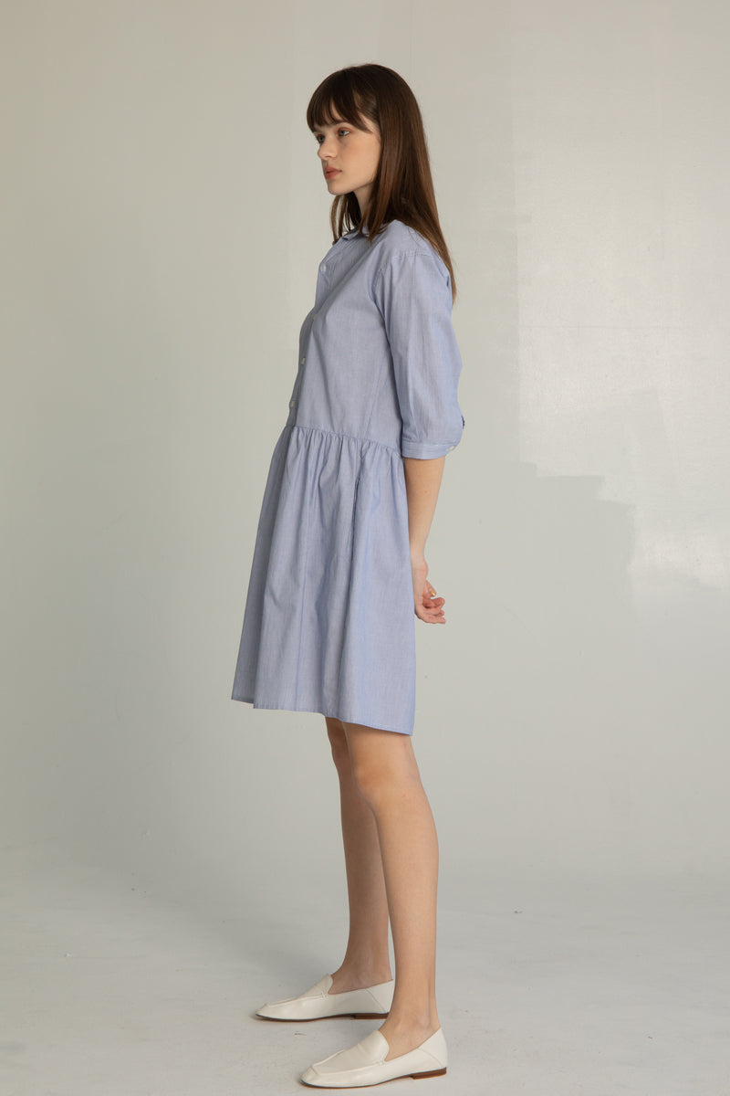 Striped Pleated Shirt Dress - Almina Concept