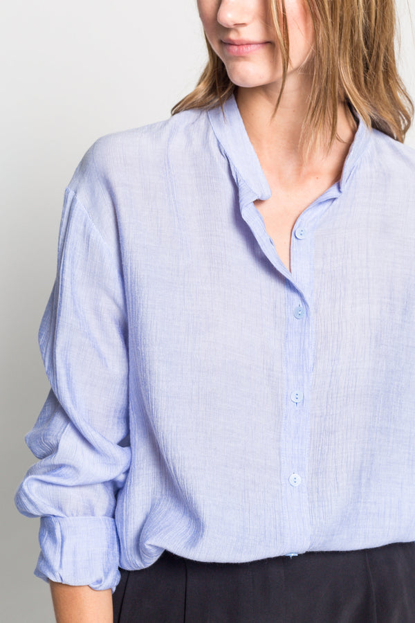 Soft Linen Collarless Blouse