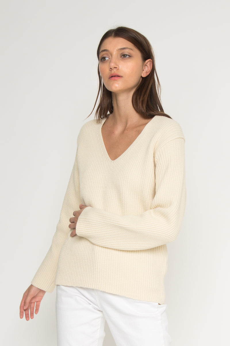 V Neck Ribbed Sweater - Almina Concept