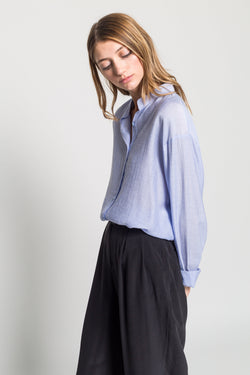 Soft Linen Collarless Blouse - Almina Concept