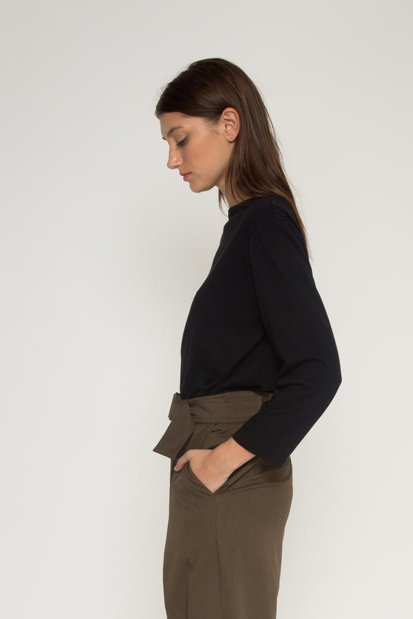 Relaxed Boatneck Long Sleeve Top - Almina Concept