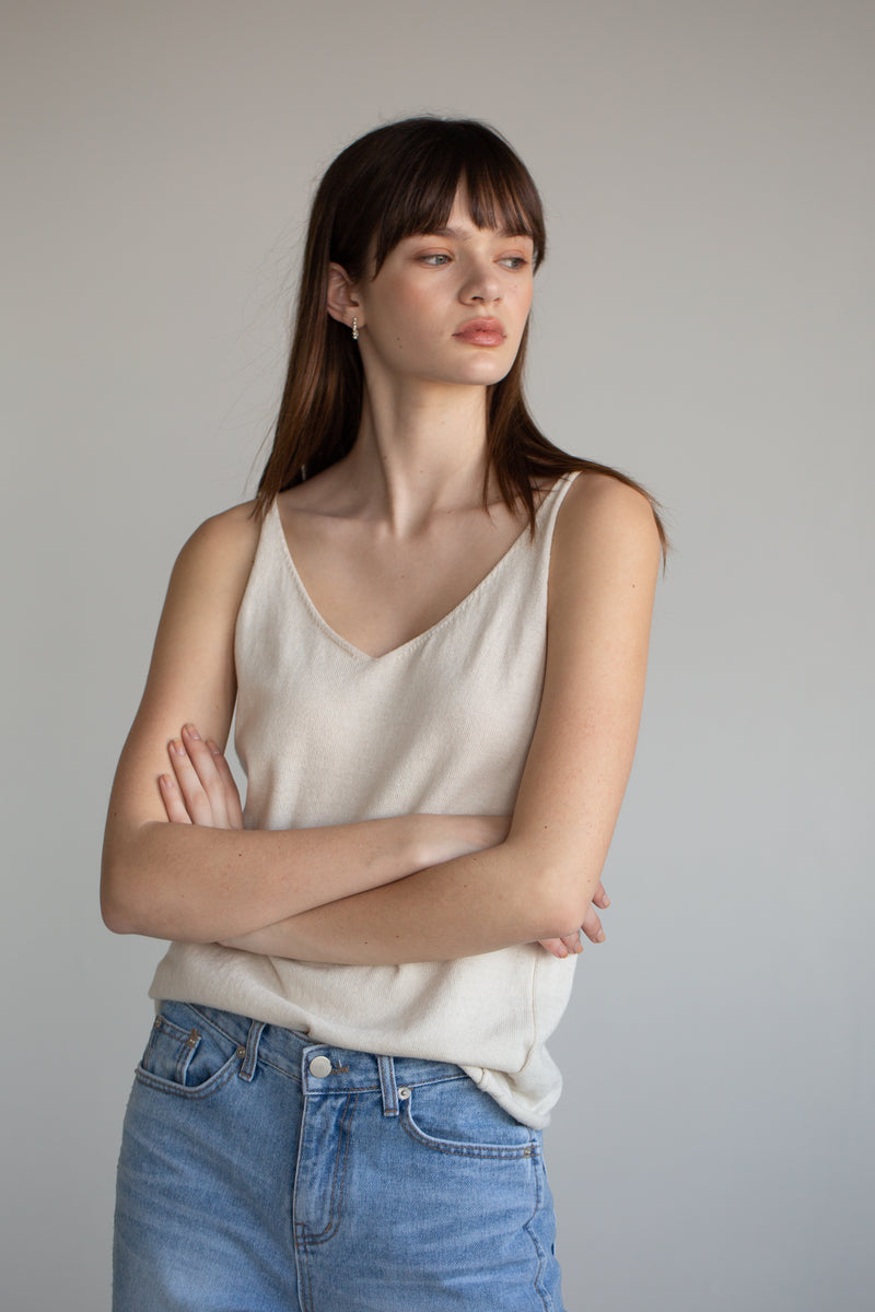 Knit V Neck Top - Almina Concept