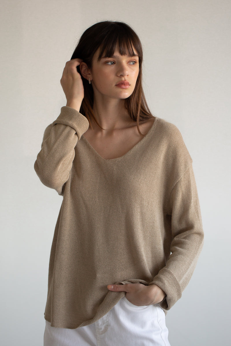 Linen Blend V Neck Sweater - Almina Concept