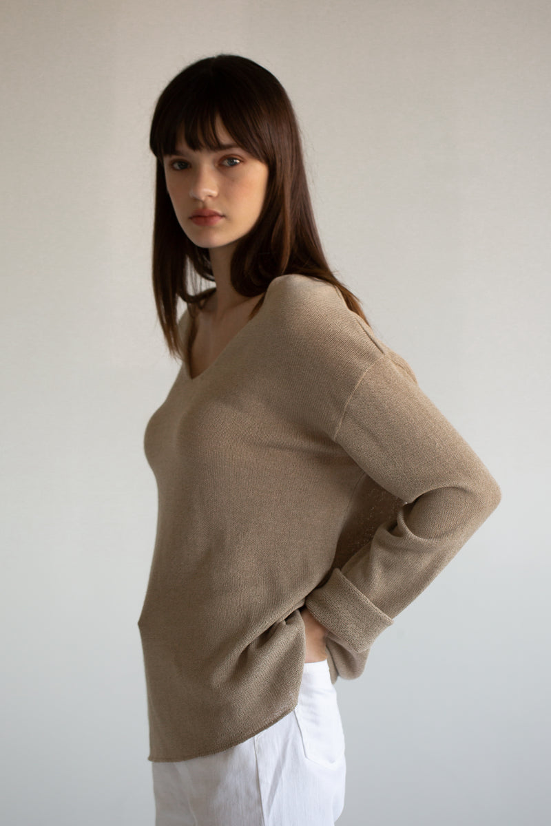 Linen Blend V Neck Sweater