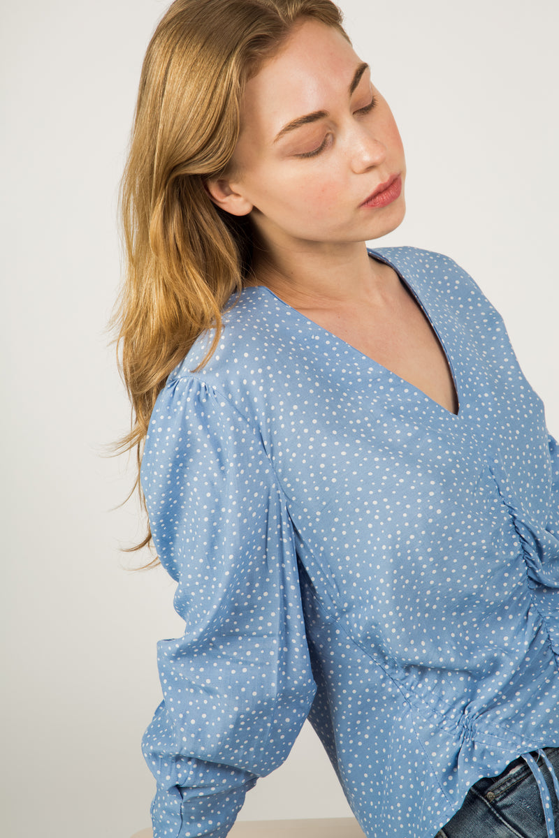Blue Dots V Neck Blouse - Almina Concept