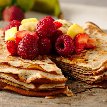 Crêpes with Fruit and Maple Syrup | GF, Vegan, No added Sugar