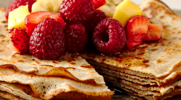Vegan Almond Flour Crêpes with Fruit and Maple Syrup