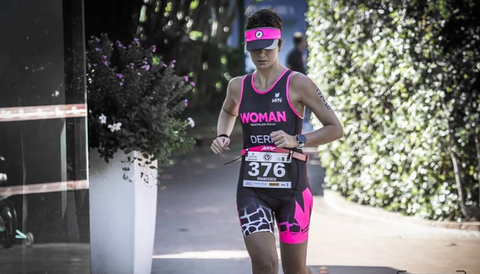 Francesca Deriu, expert nutritionist, running in triathlon marathon