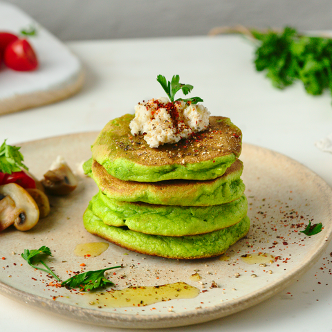 Vegan savory spinach pancakes with vegan almond ricotta recipe
