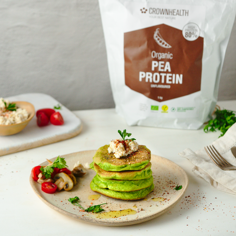 Vegan savory spinach pancakes with vegan almond ricotta recipe with organic pea protein