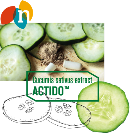 actido logo with cucumber fruit pieces and supplements pills with cucumber botanic extracts