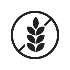 No Gluten logo black and white crownhealth certification