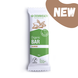 crownhealth organic protein bar cocoa and almond butter vegan swiss made
