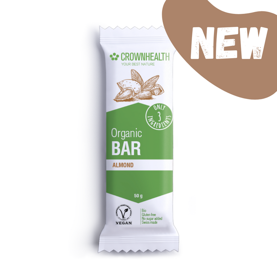 crownhealth organic bar with only 3 ingredients tastes so great: delicious dates, almonds and salt that gives irresistible salty taste. the perfect anytime healthy snack to bring with you for your busy lifestyle. crownhealth bars are super clean, healthy, natural and packed with the best organic ingredients. Plant based and wrapped in eco-friendly packaging for zero impact on waste and planet