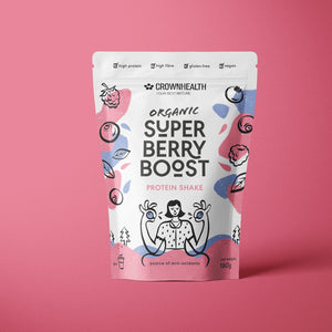 Crownhealth Organic Super Aronia berry boost protein shake source of antioxidants, high protein , high fibre, gluten free, vegan, made in Switzerland. Premium quality protein shake for body fitness, muscle mass growth and mantainance, hunger control and wellbeing