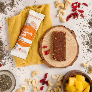 healthy energy snack by crown health with mango chia seeds for energy boost and fatigue reduction