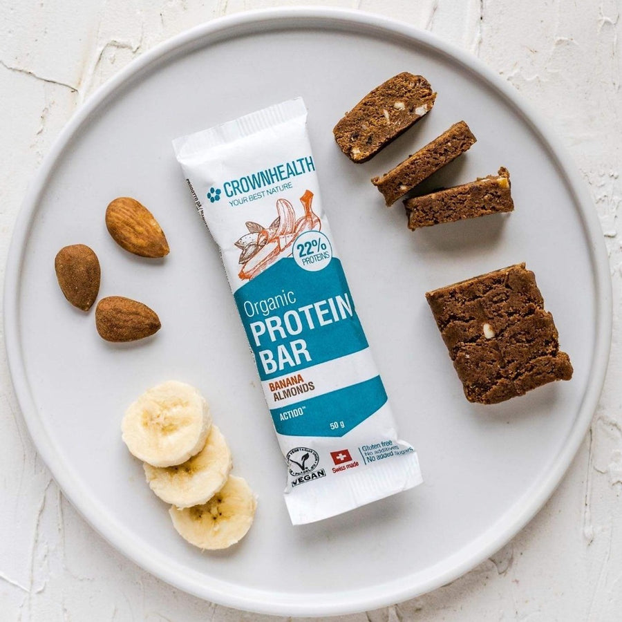 vegan organic protein bars help gain muscles and improve body fitness. high protein no added sugars organic vegan bars with banana and almonds for post workout or anytime during the day