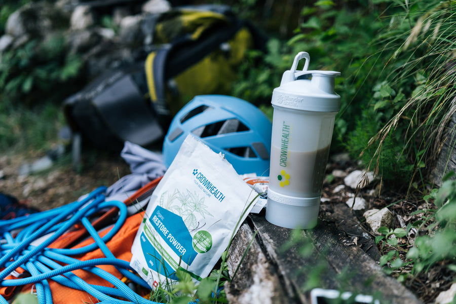 Climbing gear and protein rich recovery shake ready after climbing. Restore Powder Hemp is rich of anti-oxidant and perfect complete recovery shake after every mountain climbing