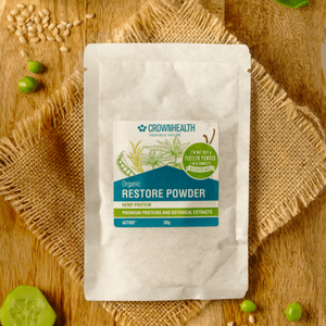 "Restore Powder Tester Sample Pack Premium proteins and botanical extracts support muscle repair and growth. Crownhealth Restore Powder Hemp in a white standing 500g pouch , with colurful ingredients draws. Blue Crownhealth logo and designs. A light green circle saying: ""I'm not just a protein powder,I'm a complete recovery mix!"". Quality logos like organic certified, vegan, gluten free, soy free , no additives and swiss made"
