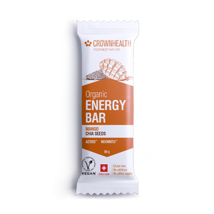 crownhealth energy bar cashews mango chia seeds organic vegan swiss made