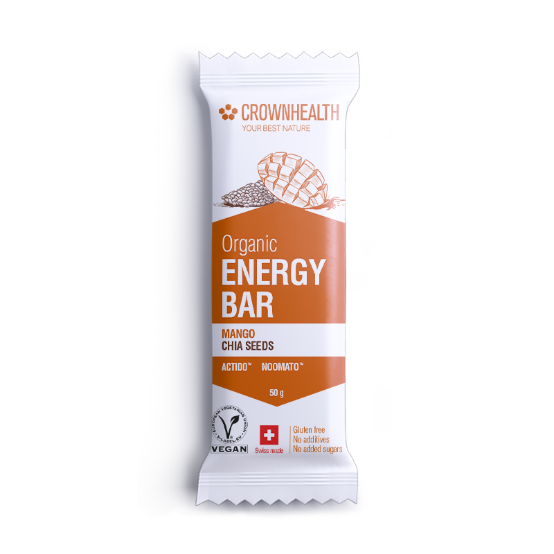 vegan energy bar by crownhealth with mango chia seeds for energy boost, satiety, strength, stamina, fatigue reduction