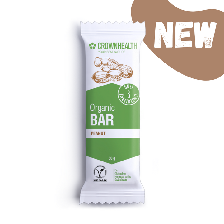 crownhealth organic bar with only 3 ingredients: tastes so great: delicious dates, peanuts and salt that gives irresistible salty taste. the perfect anytime healthy snack to bring with you for your busy lifestyle. crownhealth bars are super clean, healthy, natural and packed with the best organic ingredients. Plant based and wrapped in eco-friendly packaging for zero waste and no impact on planet