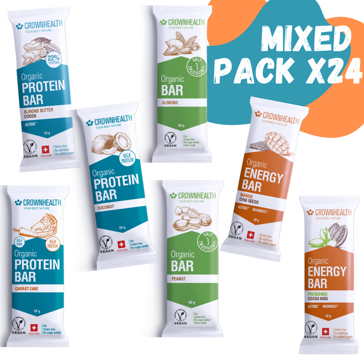 the mixed pack contains 3x every crownhealth bar, total 24 bars. protein banana, protein coconut, protein cacao, protein carrot cake, salted peanuts, salted almonds, energy mango and energy pistachio. the best and healthiest snacks for anytime and anybody packed with the best ingredients, organic and vegan certified. good for people and for the planet