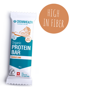 crownhealth organic protein bar with real foods ingredients: delicious dates, carrots, cinnamon and plant based proteins, irresistible carrot cake taste. the perfect anytime healthy snack packed with healthy vegan proteins to bring with you for your busy lifestyle. crownhealth bars are super clean, healthy, natural and packed with the best organic ingredients. High protein, high fiber, Plant based and wrapped in eco-friendly plastic free packaging for zero waste and no impact on planet. simply delicious