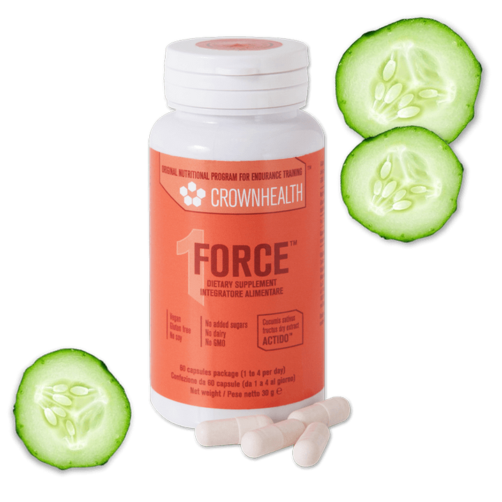 packshot force crownhealth vegan supplement with cucumber fruits. pack 60 capsules vegan and gluten free