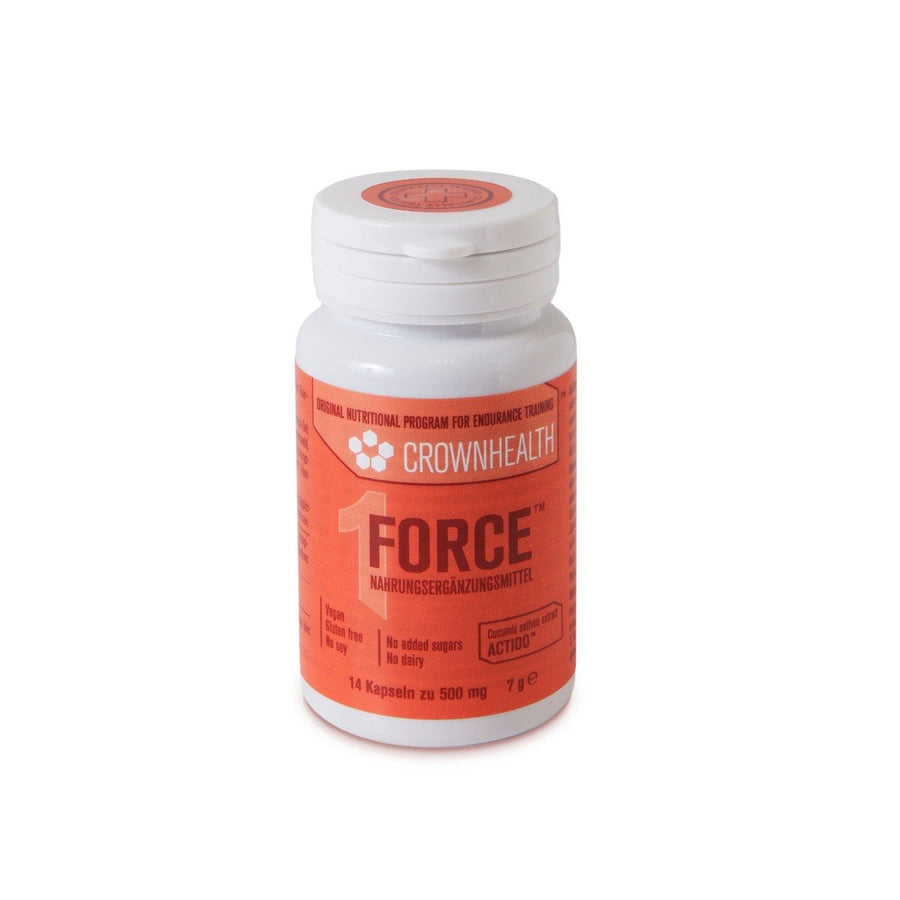 bottle of 14 pills of force supplement , based on cucumber extract, by natural plant based complete nutrition Crownhealth